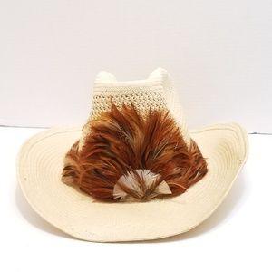 Levi's western feather hat cowboy sz 8 L